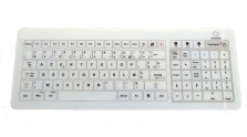 clavier medical sans fil en verre trempe 105 touches etanche ip67